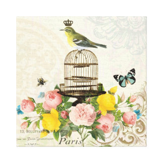 Vintage French bird and birdcage stretched canvas