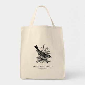 Vintage French bird black and white tote