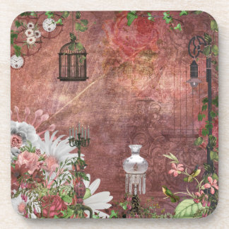 Vintage French bird cage lamps candles hummingbird Beverage Coaster