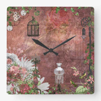 Vintage French bird cage lamps candles hummingbird Square Wall Clock