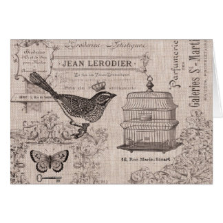 Vintage French Bird notecard