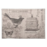 Vintage French Bird placemat Cloth Place Mat