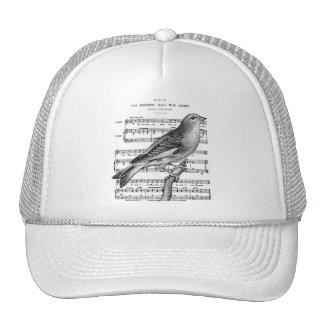 Vintage French Bird Song Music Ball Cap Trucker Hat