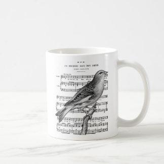 Vintage French Bird Song Music Coffee Mug