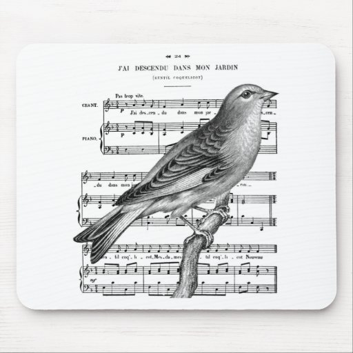 Vintage French Bird Song Music Mouse Pad