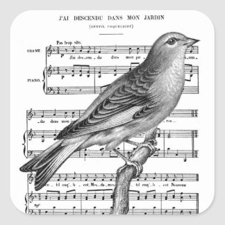 Vintage French Bird Song Music Square Stickers