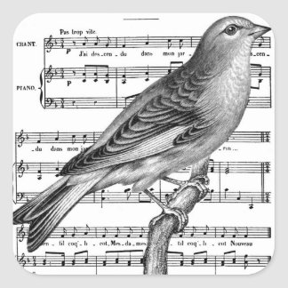 Vintage French Bird Song Music Stickers