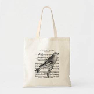Vintage French Bird Song Music Tote Bag