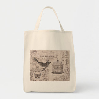 Vintage French Bird tote bag