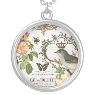 Vintage French Bird with crown charm necklace