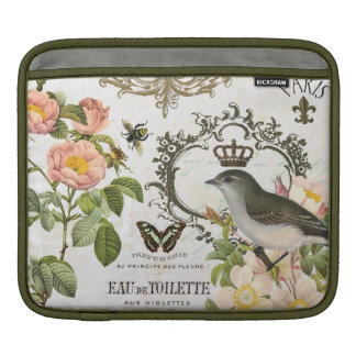 Vintage French Bird with crown ipad sleeve