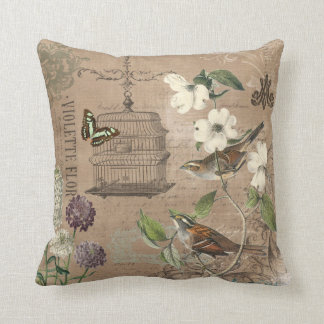 Vintage French birds and garden pillow