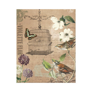 Vintage French birds and garden stretched canvas