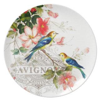 Vintage French Birds Design White Melamine Plate