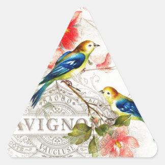 Vintage French Birds Design White Triangle Sticker