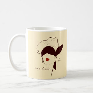 Vintage French Blindfolded Woman Rene Gruau Tan Classic White Coffee Mug