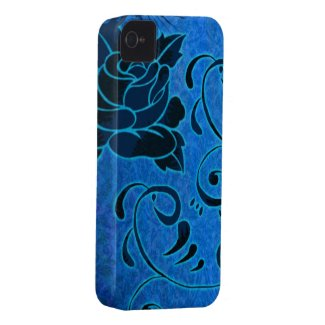 Vintage French Blue flowers v3 Case-mate Iphone 4 Cases