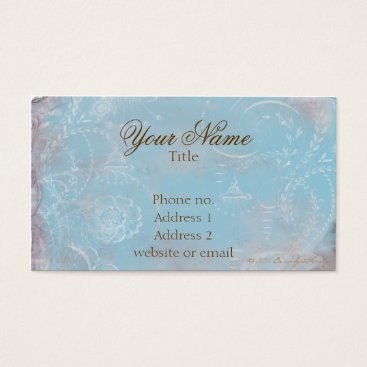 Professional Business Vintage French Blue Toile & Script Business Cards