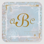 Vintage French Blue Toile & Script Custom Stickers