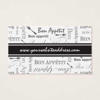 Vintage French Bon Appetit Black and White Business Card