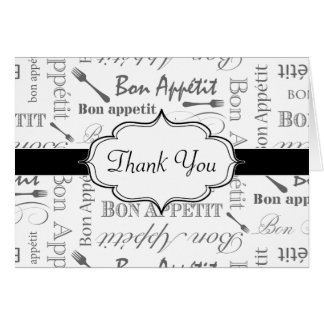Vintage French Bon Appetit Black and White Card