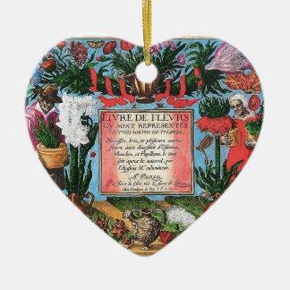 Vintage French Botanical Illustrated Book Ceramic Ornament