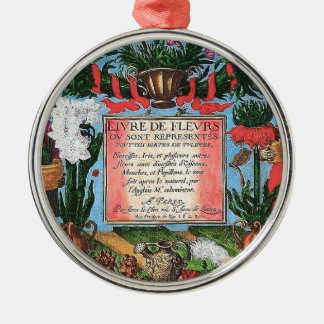 Vintage French Botanical Illustrated Book Metal Ornament