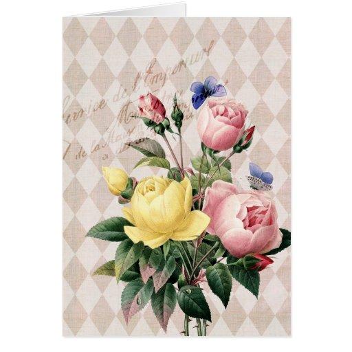 Vintage French Botanical Roses Cards