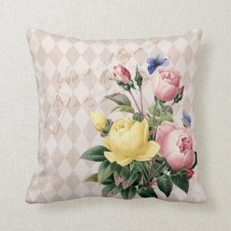 Vintage French Botanical Roses Throw Pillow