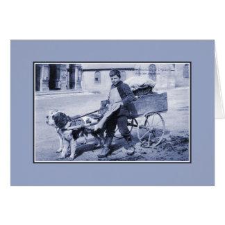 Vintage French boy vegetable seller and dog cart Card