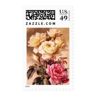 Vintage French Bridal Roses Postage Stamps