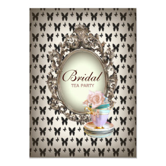 vintage french bridal shower tea party card