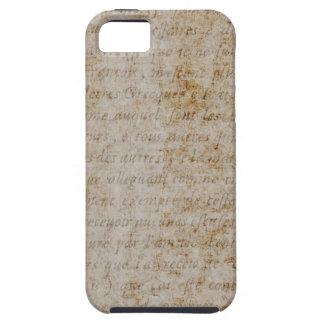 Vintage French Brown Tan Text Parchment Paper iPhone SE/5/5s Case