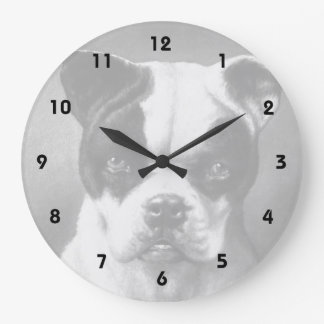 Vintage French Bulldog art Large Clock