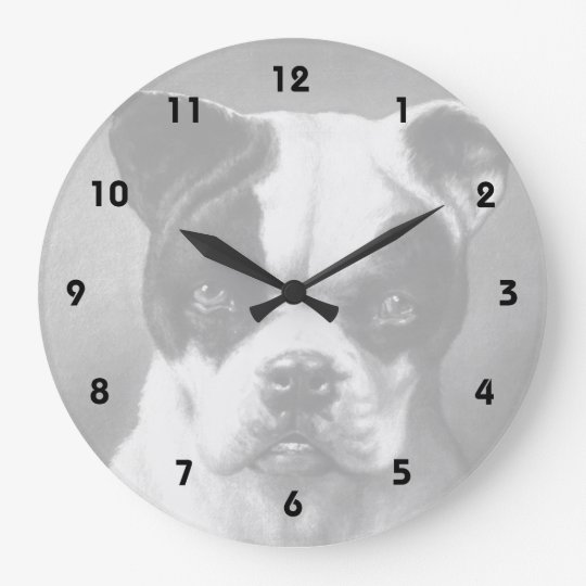 Vintage French Bulldog art Large Clock