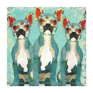 Vintage French Bulldogs Trio Art Canvas