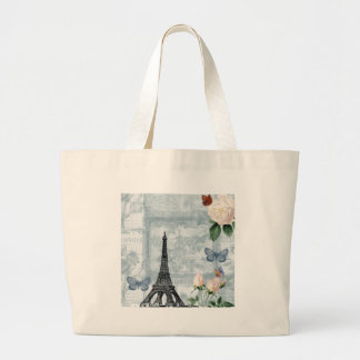 Vintage French Butterflies and Roses Jumbo Tote Bag