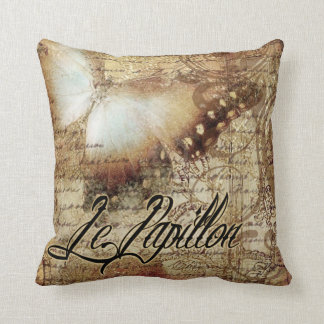 Vintage French Butterfly Le Papillon | tan Throw Pillow