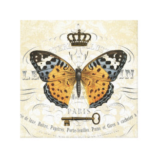 Vintage French Butterfly stretched canvas