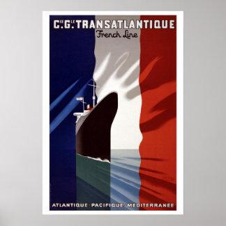 Vintage French C.G. Transatlantique Line Poster
