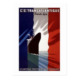 """Vintage French C.G. Transatlantique Ship Line"" Postcard"