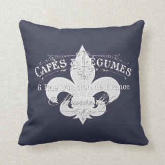 Vintage French Cafe Personalize Throw Pillow