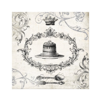 Vintage French cake and crown stretched canvas