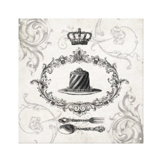 Vintage French Cake cake stretched canvas