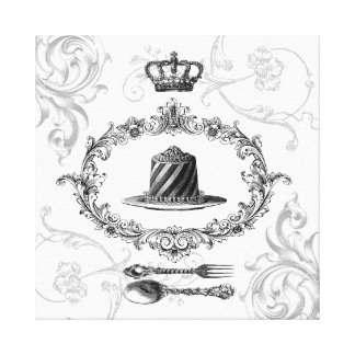 Vintage French Cake stretched canvas