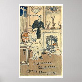 Vintage French calendar November 1900 home family Poster