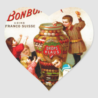 Vintage French Candy advertising illustration Heart Sticker