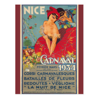 Vintage French Carnival Nice 1934 Postcard