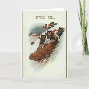 French christmas cards zazzle vintage french cats christmas greeting card m4hsunfo