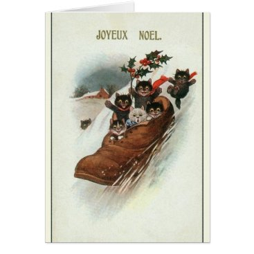 Christmas Themed Vintage French Cats Christmas Greeting Card